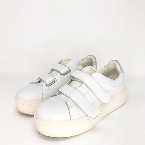 Kenzo Paris white leather platform sneakers velcro
